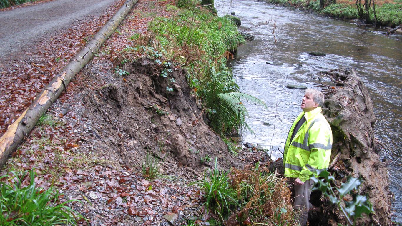 River bank repair at Fingle Woods